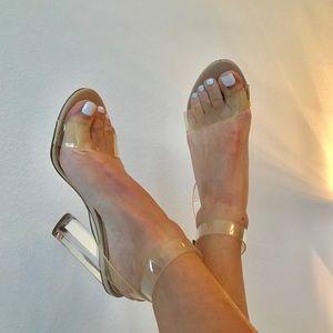 Steve Madden clear sandal heels